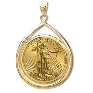 2012 1 oz Gold Eagle Teardrop Pendant (Prong Bezel) 14K