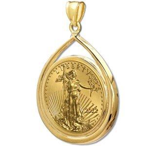 2012 1 oz Gold Eagle Teardrop Pendant (Prong Bezel) 14K - 2