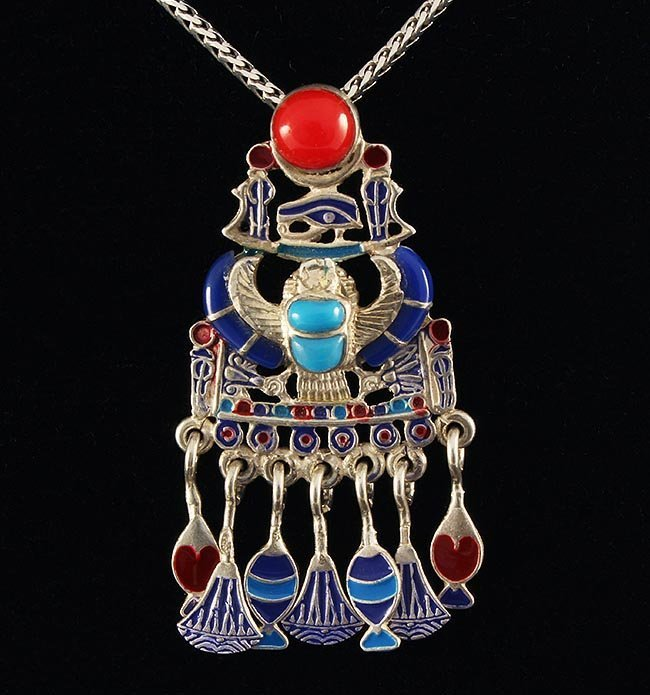 10.63g Egyptian Jewelry - Scarab Beetle Symbol .925 Pen