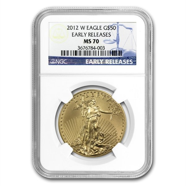 2012-W 1 oz Burnished Gold American Eagle MS-70 NGC