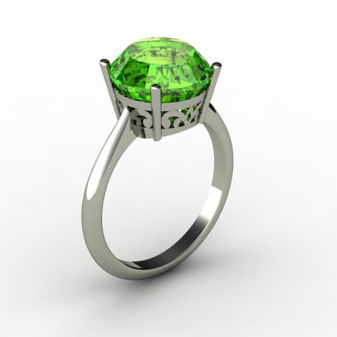 Peridot 5.25 ctw Ring 14kt White Gold