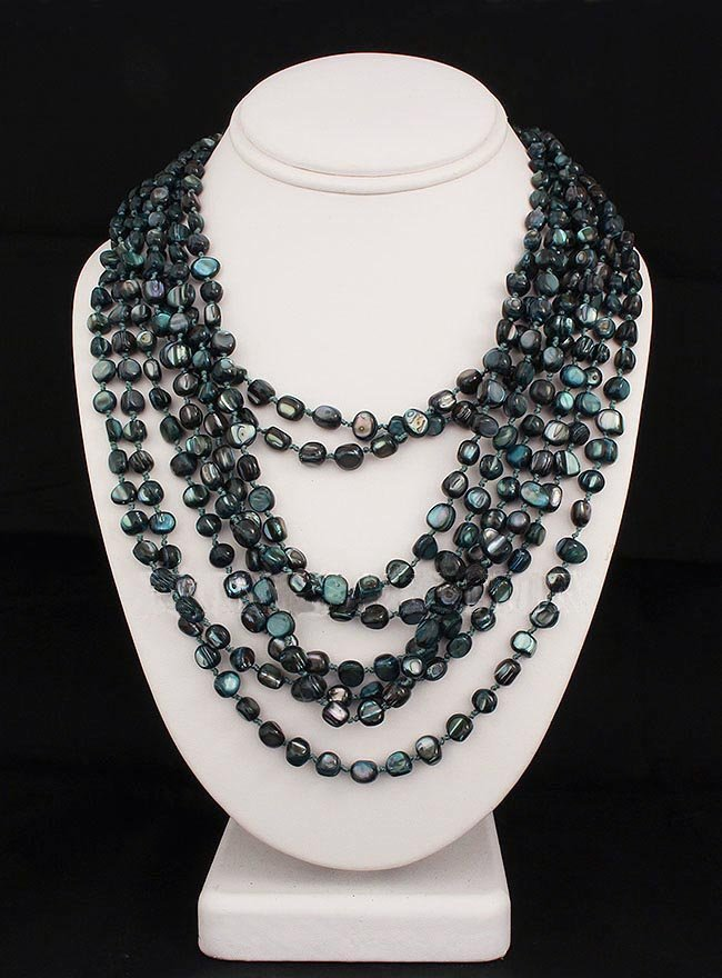 826.00CTW PRUSSIAN BLUE 8ROW MOTHER OF PEARL NECKLACE