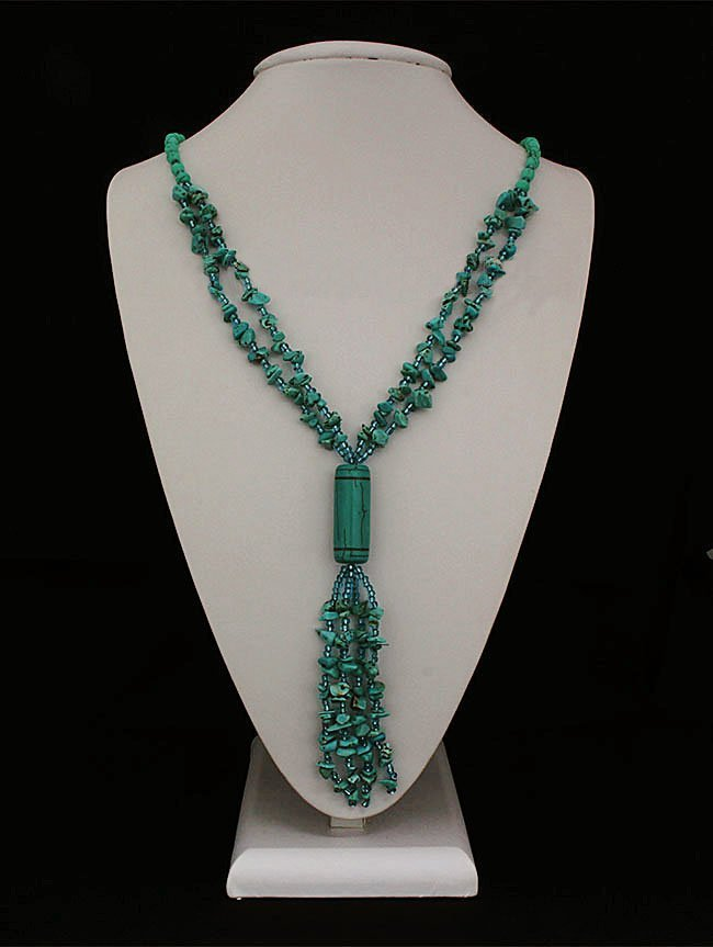 Gushing Sky Blue Turquoise 383.00ctw Beads Necklace