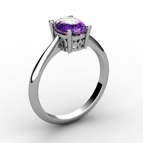 Amethyst 0.85 ctw Ring 14kt White Gold