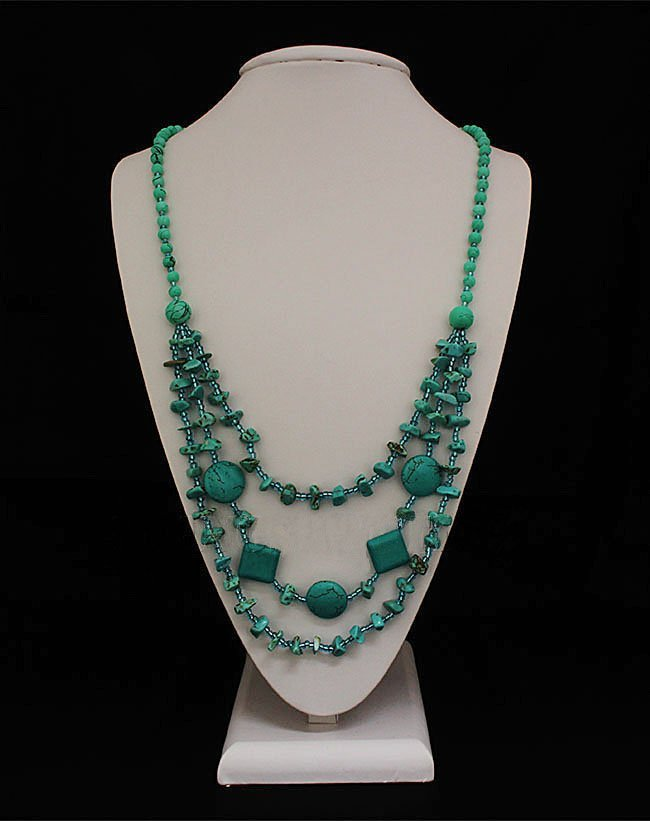 Gushing Sky Blue Turquoise 461.00ctw Beads Necklace