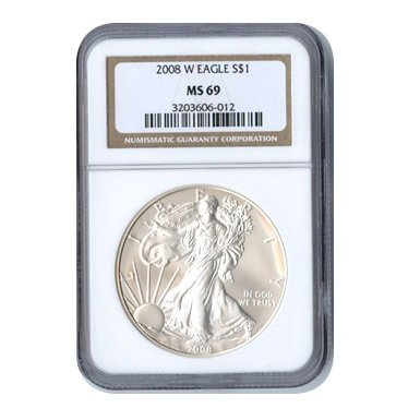 Burnished 2008-W Silver Eagle MS69 NGC
