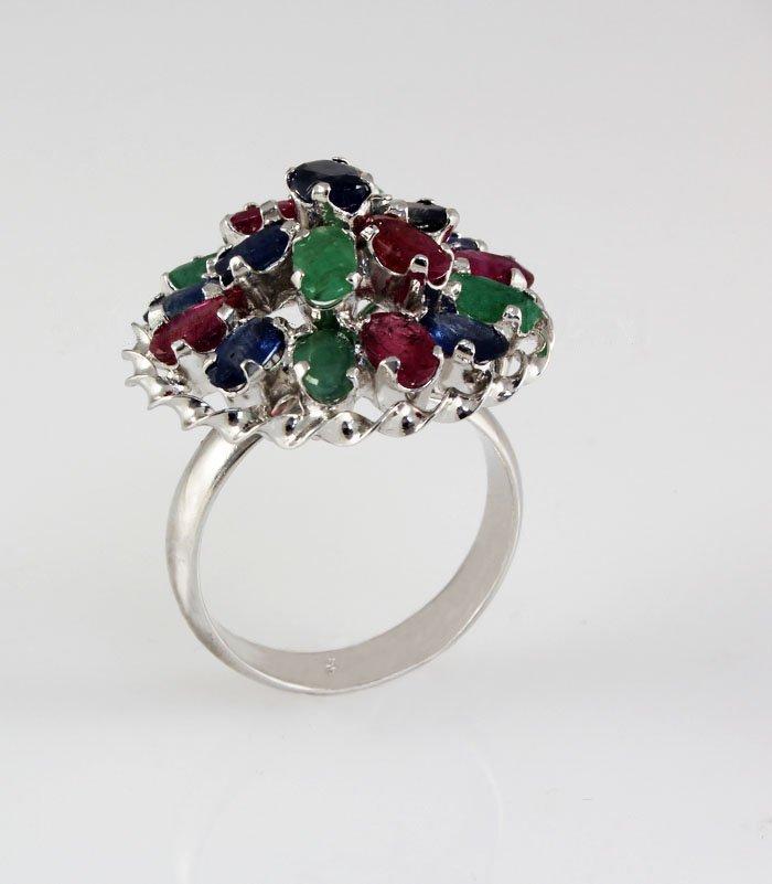 37.00CTW Multi-color Precious Stone Silver Ring