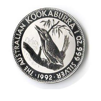 Australian Kookaburra 1 oz Silver 1992