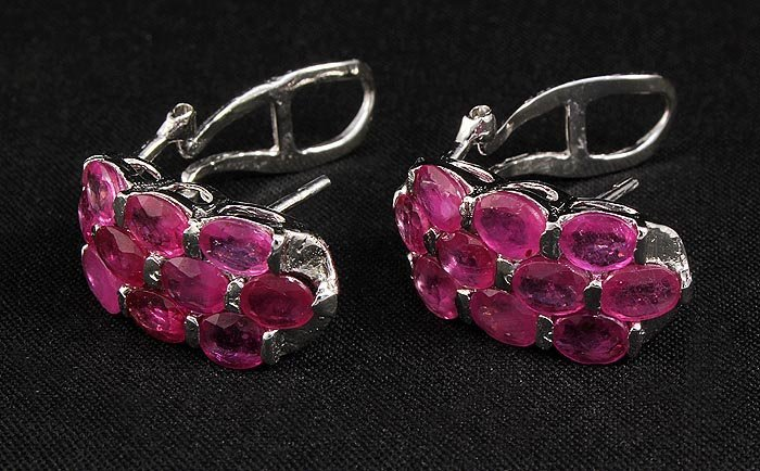 12.00ctw Pink Ruby Sterling Silver Cluster Earring