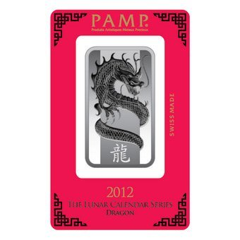 Silver Bars: Pamp Suisse 1 oz Dragon Bar .999 fine
