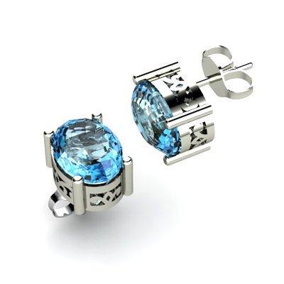Aqua Marine 1.50ctw Earring 14kt White Gold