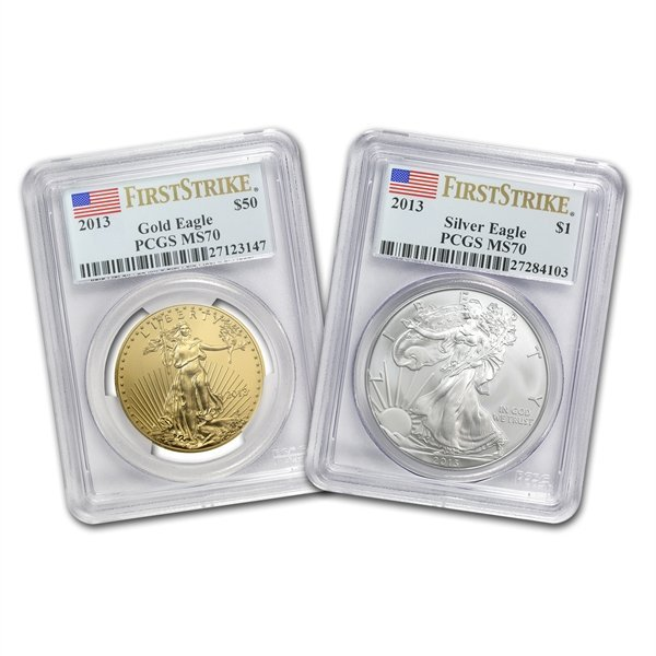 2013 1 oz Gold & Silver American Eagle 2 Coin Set MS-70