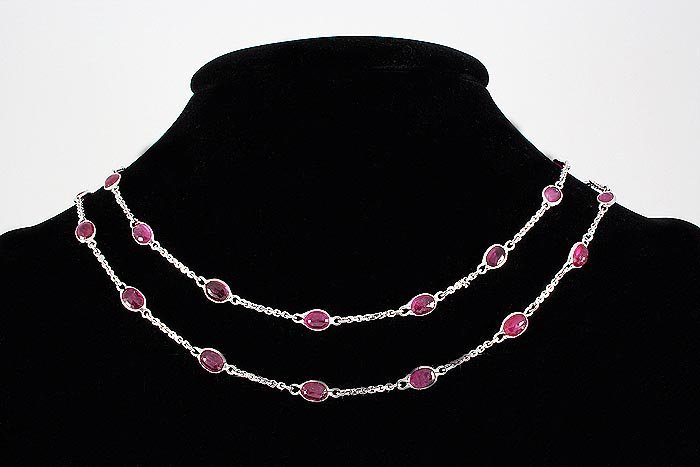 Natural Ruby 33.92CT in Silver CableLinkChain Necklace