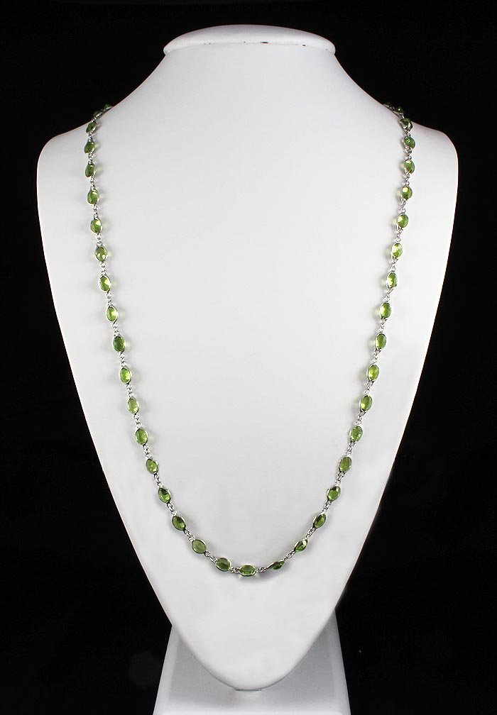 Natural Peridot 67.50CT Silver Bezel Design Necklace