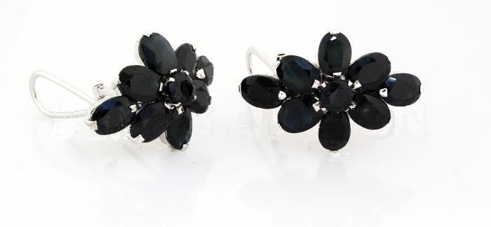 Natural Sapphire 40.44CTW Silver Flower Earring