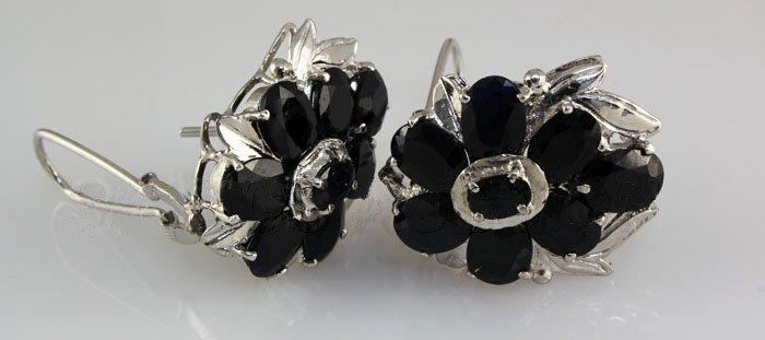 Natural Sapphire 72.04CTW Silver Flower Earring