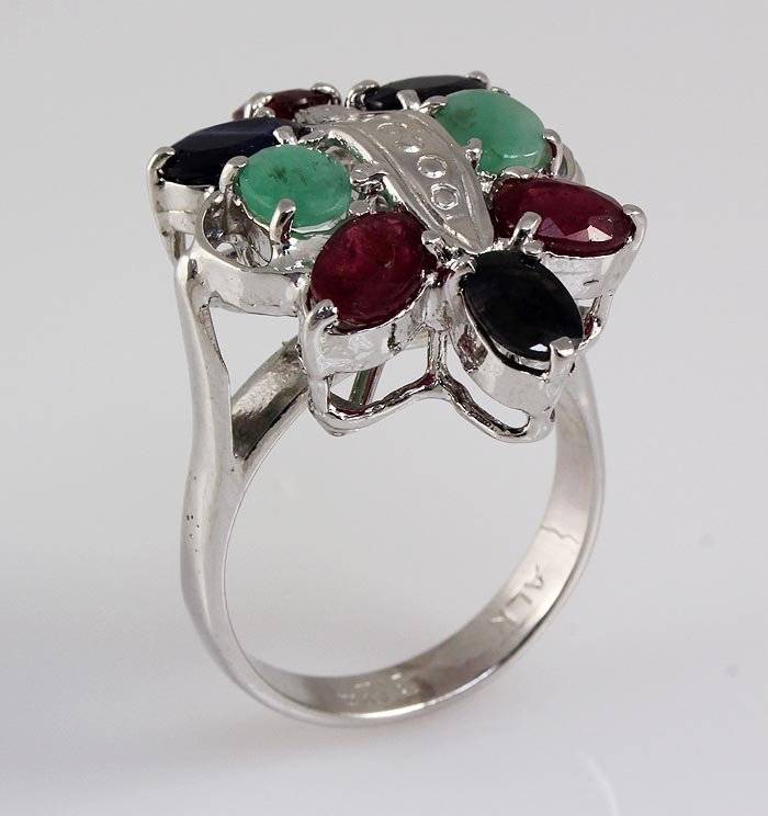 Butterfly 6.73g Sterling Silver Multi Precious Ring