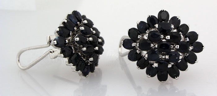 Cluster Sapphire 43.33CTW Sterling Silver Earring