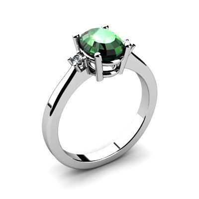 Emerald 1.26ctw Ring 14kt White Gold