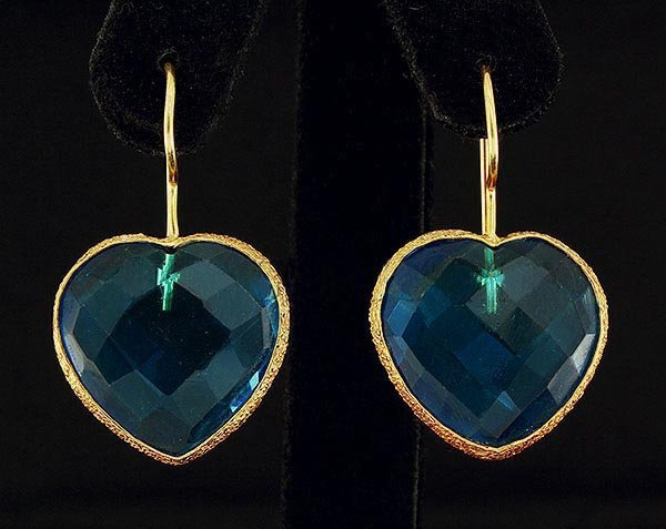 Blue Topaz 39.40ctw in Gold Plated Brass Earring