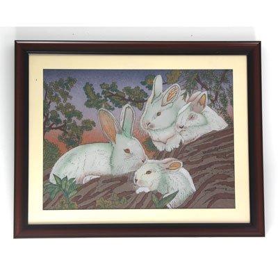 Playful Rabbits Crushed Gemstone Painting w/ Frame