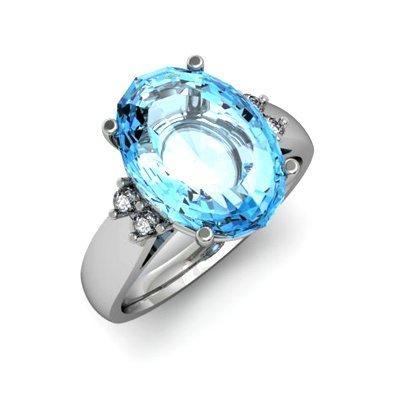 Aqua Marine 6.75 ctw & Diamond Ring 14kt White Gold