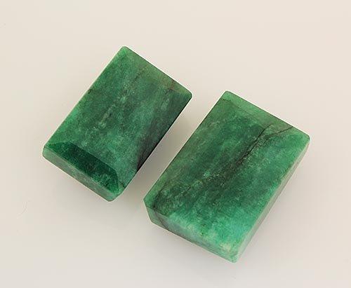 171.08ctw Faceted Loose Emerald Beryl Gemstone Lot of 2