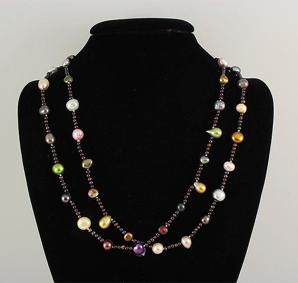 290.87CTW LONG FRESHWATER PEARL NECKLACE ASSORTED
