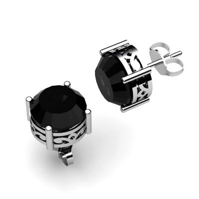 Black Diamond 2.00ctw Earring 14kt White Gold