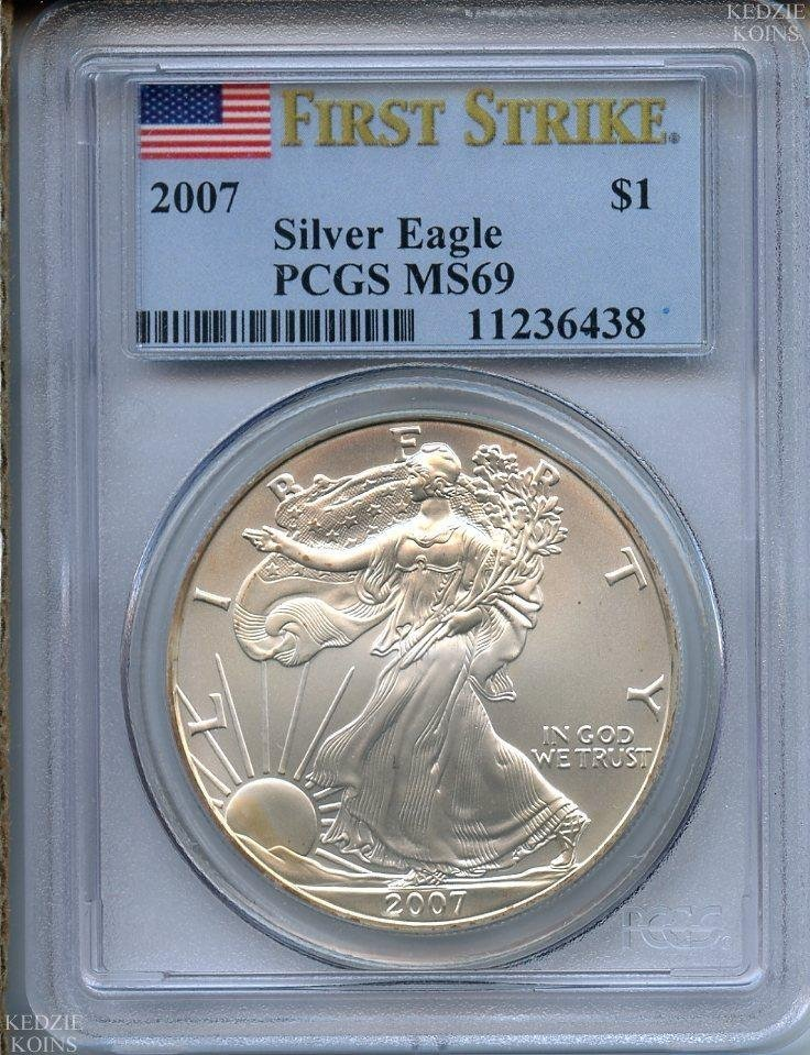 2007 1 oz Silver American Eagle MS-69 PCGS (First