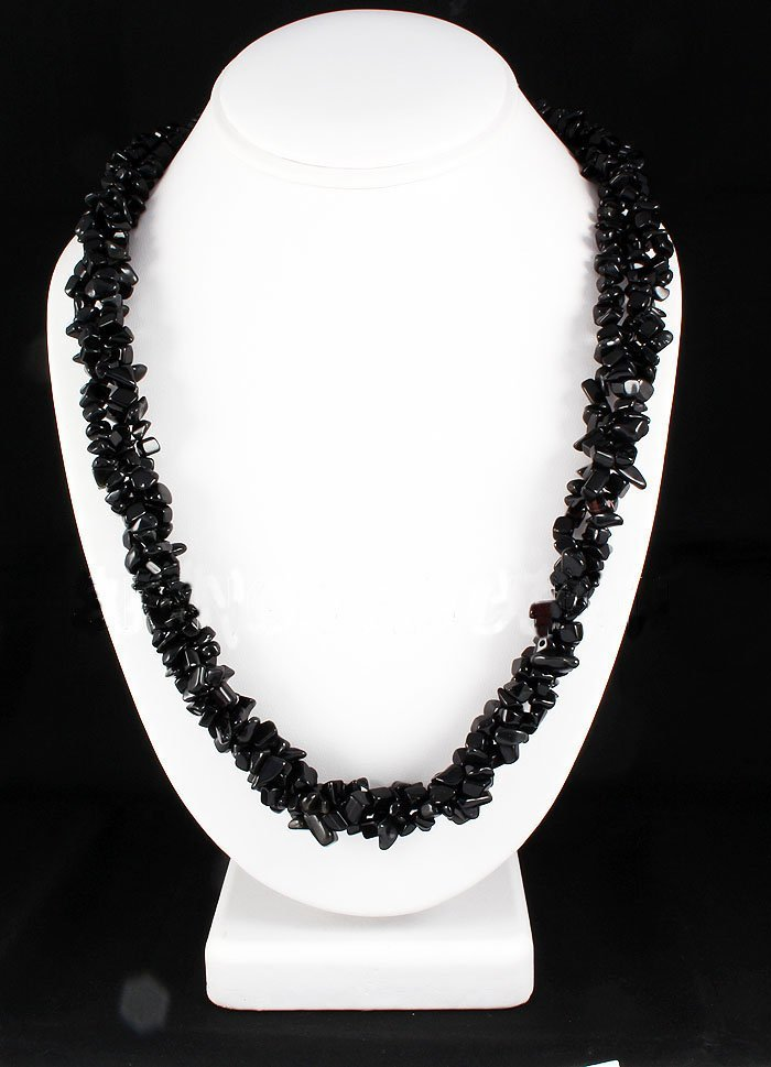 582.49CTW 23in. BLACK QTZ CHIPPED STONE NECKLACE METAL