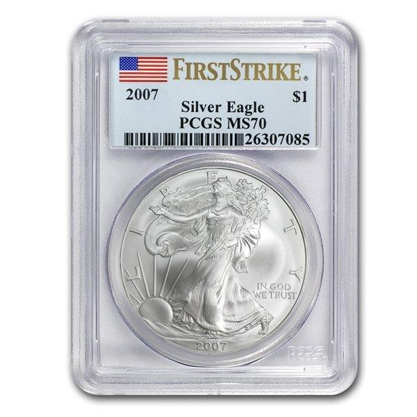2007 1 oz Silver American Eagle MS-70 PCGS Registry Set