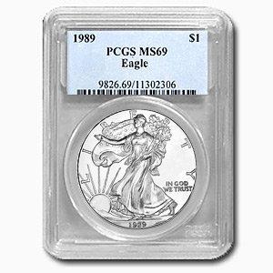 1989 1 oz Silver American Eagle MS-69 PCGS