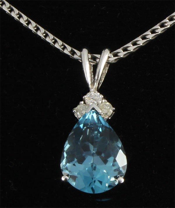 3.49 carat Natural Blue Topaz Oval & Diamond Necklace 1