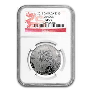2012 1/2 oz Silver Canadian $10 - Year of the Dragon