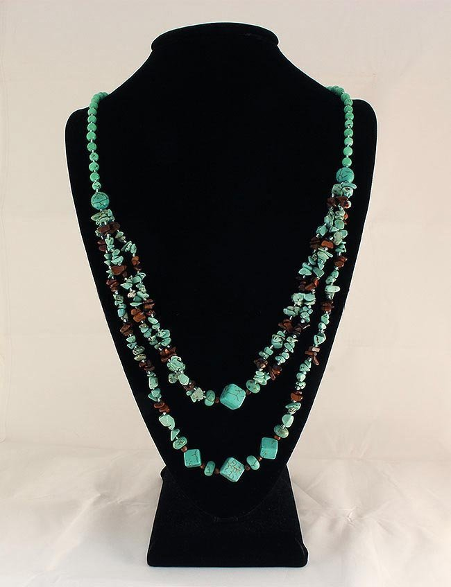Gushing Sky Blue Turquoise 435.00ctw Beads Necklace