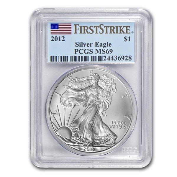 2012 (S) 1 oz Silver American Eagle MS-69 PCGS - Struck