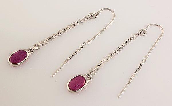 Sterling Silver Drop Dangle 9.38ctw Ruby Earring