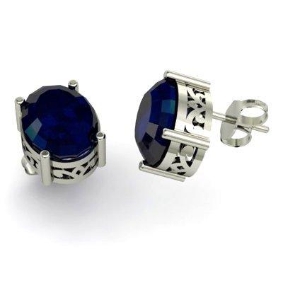 Sapphire 6.30ctw Earring 14kt White Gold