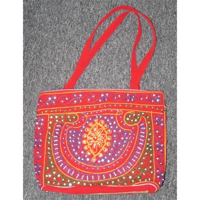 Red Hand Embroider with Different Colors Beads Indian