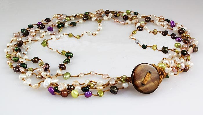 148.00CTW Multi Color Thread Freshwater Pearl Necklace