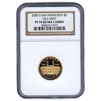 Certified Commemorative $5 Gold 2006-S SF Old Mint PF70