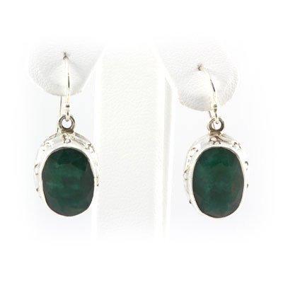 44ctw Oval Emerald Silver Hook Earring
