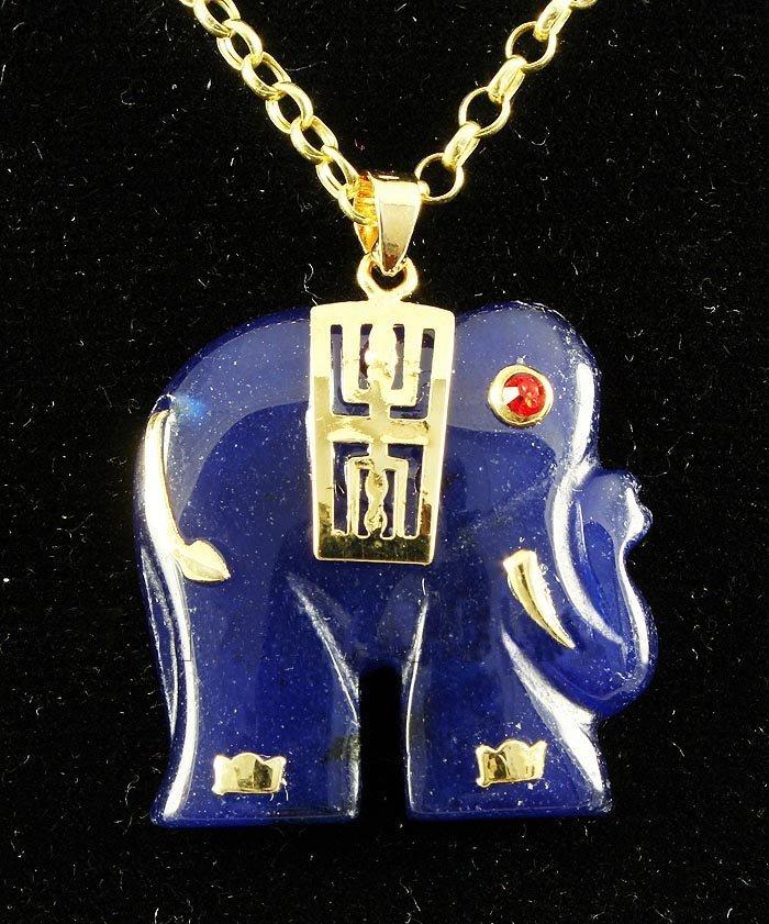25.66CTW PURPLE BLUE JADE ELEPHANT GOLD PLATED PENDANT