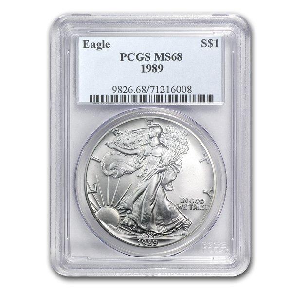1989 1 oz Silver American Eagle MS-68 PCGS