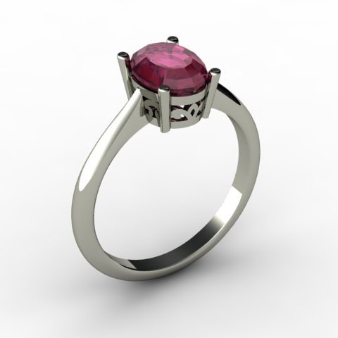 Ruby 1.55 ctw Ring 14kt White Gold
