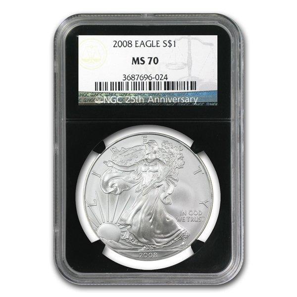 2008 Silver American Eagle (NGC MS-70) (Retro Black Ins