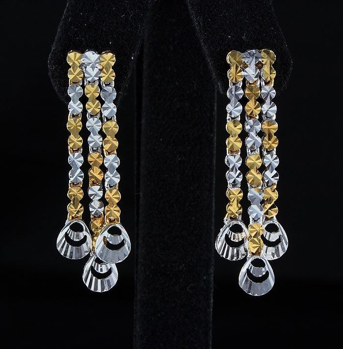 5.55g New 3Rows Diamond Cut 2Tone Gold Plated Silver Ea