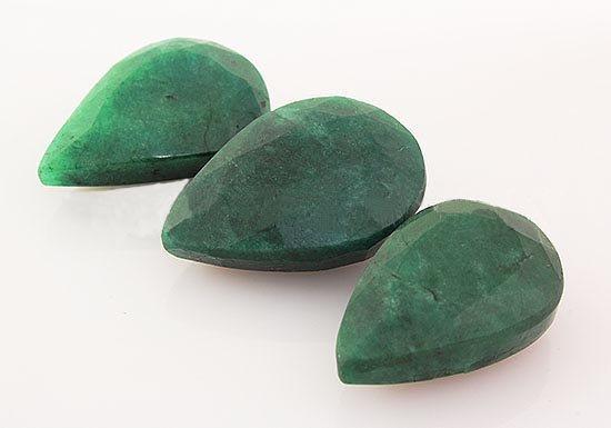 127.78ctw Faceted Loose Emerald Beryl Gemstone Lot of 3