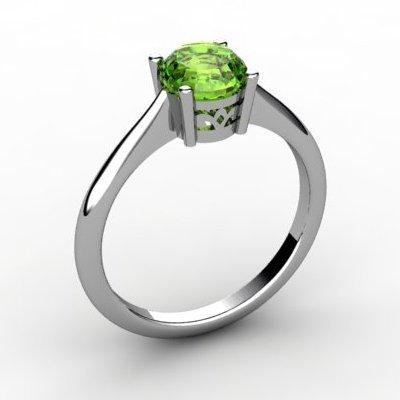 Peridot 0.85 ctw Ring14kt White Gold